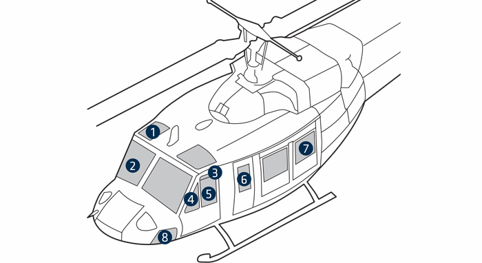 windows  replacement  bell 212  412  412cf  412ep